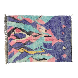Contemporary Moroccan Post-Modern Memphis Style Rug - 5′4″ × 7′6″ For Sale