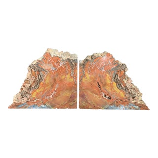 "Gem Grade Petrified Wood Bookends Araucaria ""Arizona Rainbow Wood"" - a Pair For Sale"