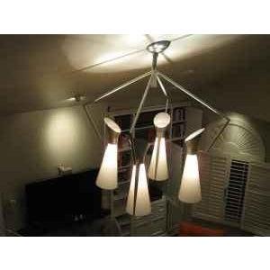 Mid Century Extreme Modernism Victor Gruen for John Lautner Chandelier Hanging Lamp For Sale - Image 9 of 11