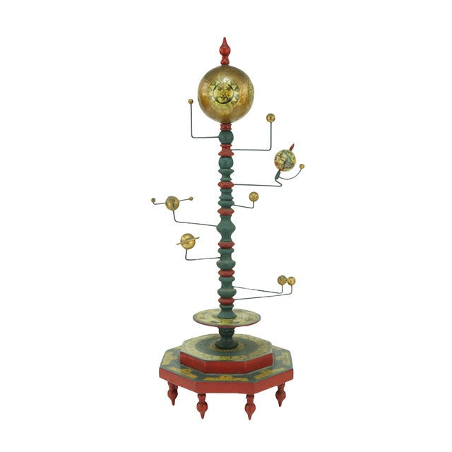 Mid Century Painted Wood and Metal Orrery For Sale