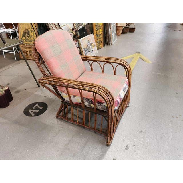 Art Deco Art Deco Reeded Rattan Lounge Chair and Ottoman For Sale - Image 3 of 13