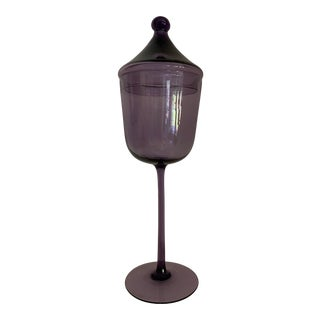 Mid-Century Empoli Purple Art Glass Tall Jar For Sale
