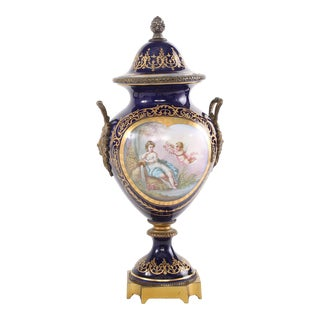 Mid 19th Century Bronze Mounted / Sèvres Porcelain Covered Urn For Sale
