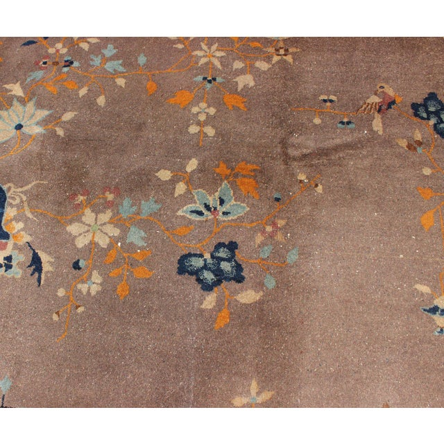 1920s 1920s Vintage Chinese Art Deco Rug - 9′ × 11′8″ For Sale - Image 5 of 11