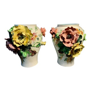 French Majolica Choisy-Le-Roi & Royal Worcester Porcelain Marks Applied Poppy Flower Vases - a Pair For Sale