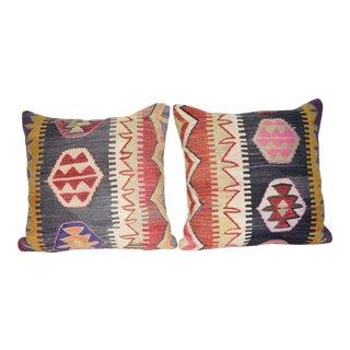 Bohemian Tribal Throw Pillows, Pair Geometrical Kilim Pillows With Rustic Design 20'' X 20'' (50 X 50 Cm) For Sale