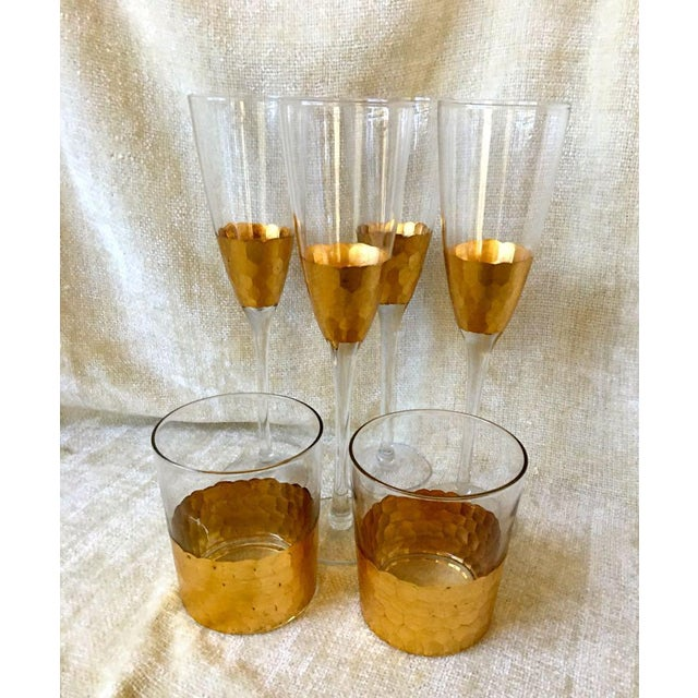 1970s 1970s West Elm Honeycomb Pattern Fluted Champagnes Old Fashions - Set of 6 For Sale - Image 5 of 5