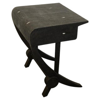 Stunning Modern Black and White Shagreen Cantilever End Table by R&y Augousti For Sale