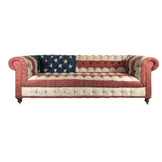 "Timothy Oulton ""Old Glory"" American Flag Chesterfield Sofa For Sale"