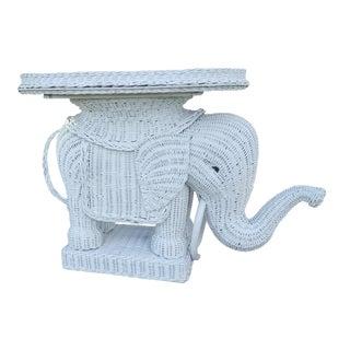 Vintage Italian White Woven Rattan Elephant Side Table