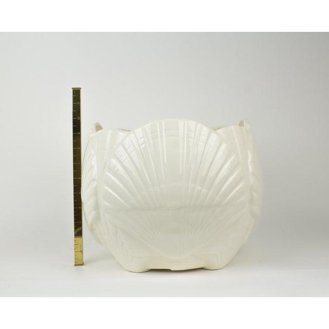 Large White Ceramic Sea Shell Planter Cache Pot For Sale - Image 9 of 10