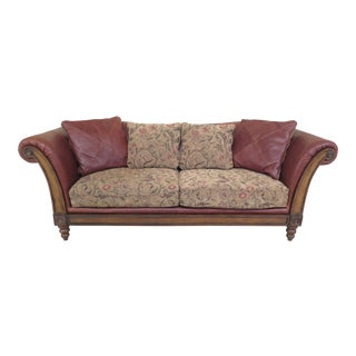 Modern Lloyds Leather & Upholstered Rustic Sofa For Sale