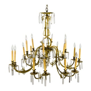 20th Century French Style 18 Light Brass and Crystal Chandelier For Sale