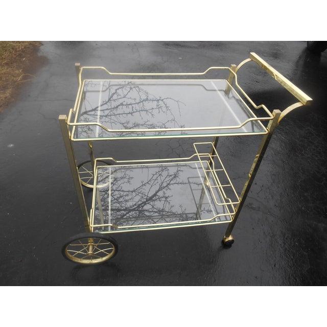 Vintage Hollywood Regency Brass & Glass Tea/Bar Cart Server For Sale - Image 5 of 5