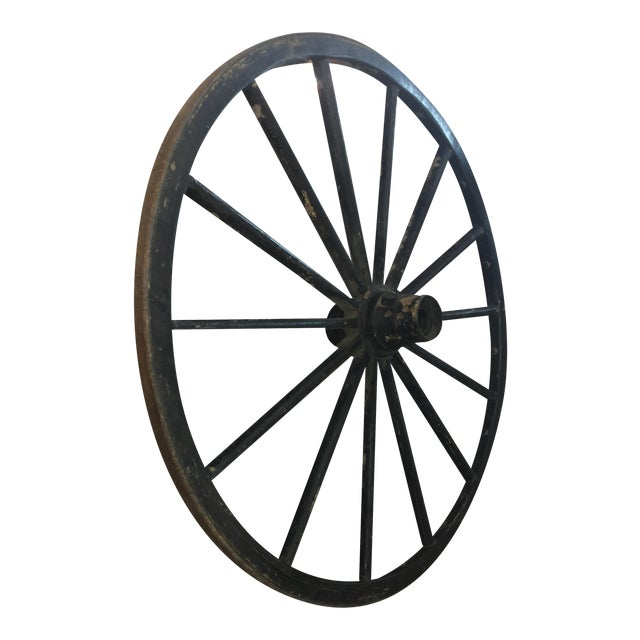 Primitive Large Black Wood Wagon Wheel - Image 1 of 5