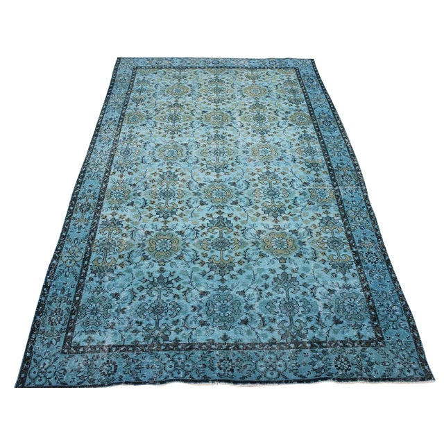 Turquoise Over-Dyed Rug - 5′5″ × 9'8″ For Sale