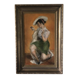 """""""Girl With Compact"""" Oil on Canvas Circa 1940 For Sale"""