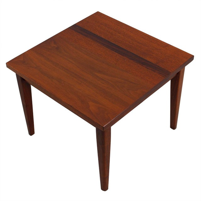 Mid-Century Teak Walnut & Rosewood Accent Table - Image 2 of 7