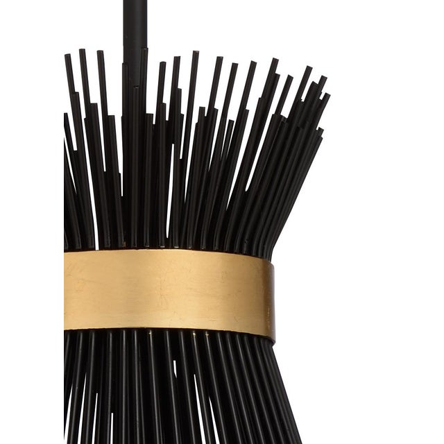 "black finish on iron with antique gold leaf trim adjustable extension rod from 6""to 42""comes with one 6""rod and three 12""rods"