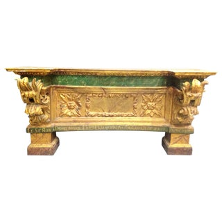18th Spanish Gilted Altar Console, Original Polychromed, Signed, Masterpiece For Sale