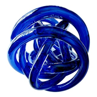 Sapphire/Cobalt Cased Glass Sculptural Blown Knot, 1970s For Sale
