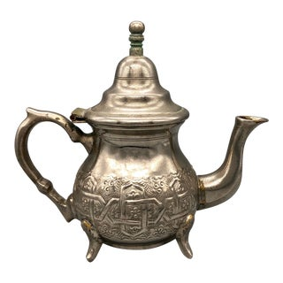 Vintage Bennani Frères Moroccan Silver Teapot, Hand Hammered With Repousse For Sale