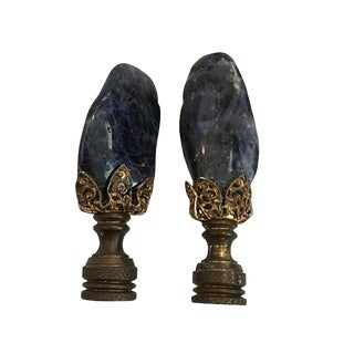 Vintage Natural Amethyst Lamp Finials - a Pair For Sale