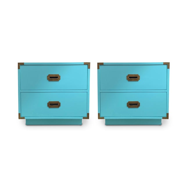 Metal Vintage Aqua Dixie Campaign Nightstands - a Pair For Sale - Image 7 of 8