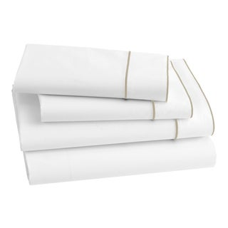 Salerno Bedding King Pillowcase in White/Champagne - a Pair For Sale