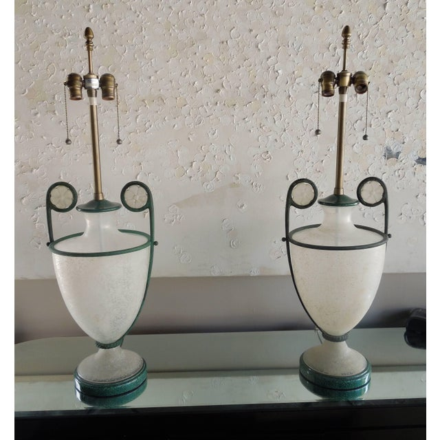 Contemporary 1980s Lamps by Seguso Vetri D' Arte in Scarvo Glass and Verdigris - a Pair For Sale - Image 3 of 9