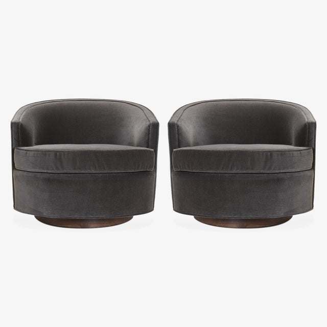 Mid-Century Modern Swivel Tub Chairs in Shadow Velvet, Pair For Sale - Image 3 of 8