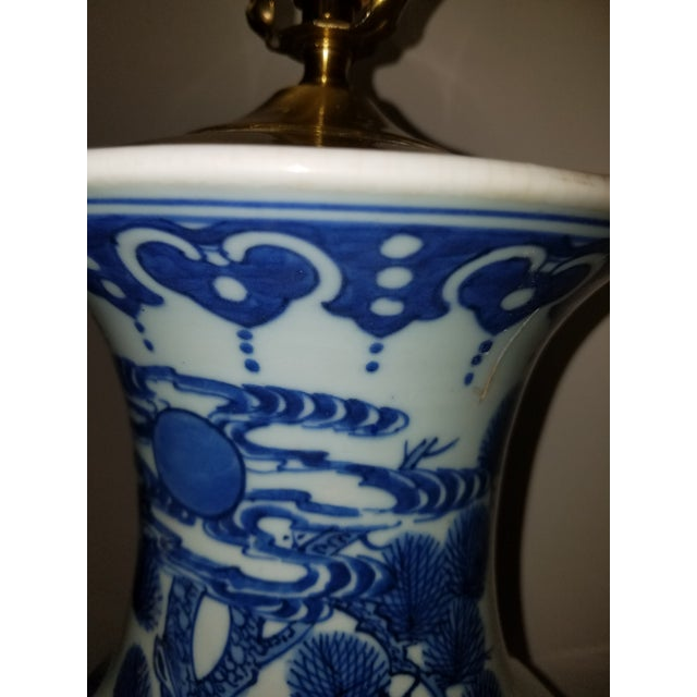 Vintage Chinese Hand Painted Blue and White Table Lamp With Cranes and Flowers For Sale - Image 4 of 6