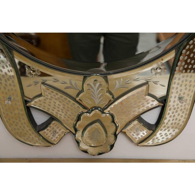 Glass Venetian Etched Ribbon Design Wall Mirror For Sale - Image 7 of 9
