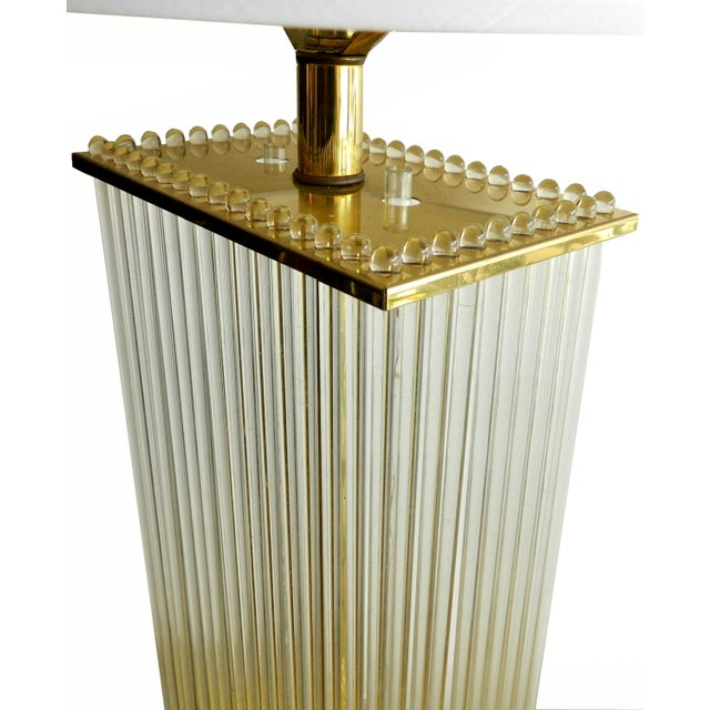 Mid-Century Modern Vintage Glass Rods Brass Floor Lamp For Sale - Image 3 of 7