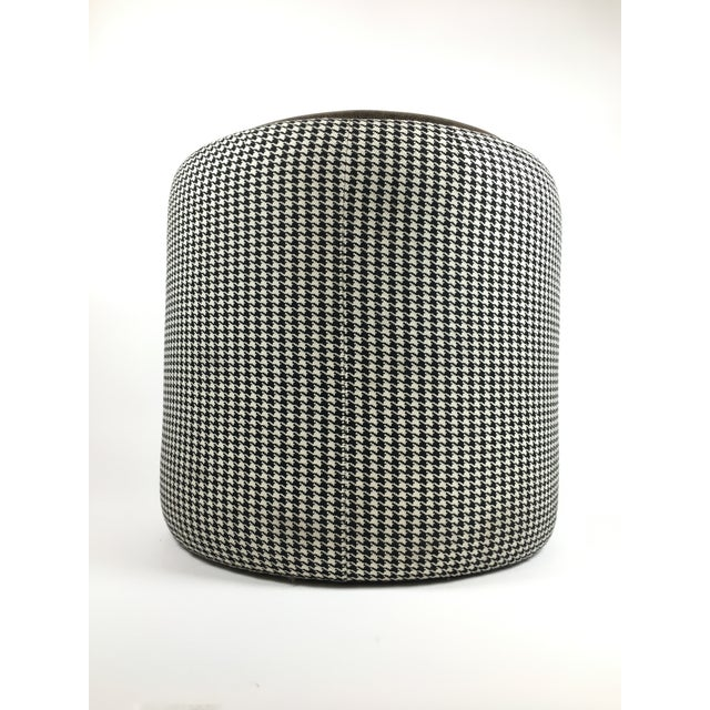 Mid-Century Modern Lily Jack Leather Ottoman With Houndstooth Upholstery For Sale - Image 3 of 4