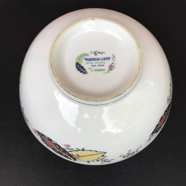 1970s Vintage Tobacco Leaf Large Porcelain Serving Bowl For Sale In Chicago - Image 6 of 11
