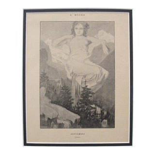 1899 Original Cocorico Mucha Calendar Illustration, September (Matted) For Sale
