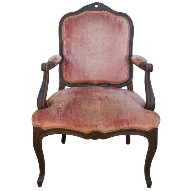 French Louis XV Style Coral Velvet Armchair - Image 1 of 4