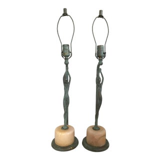 Vintage Art Deco Nude Woman Table Lamps - a Pair For Sale