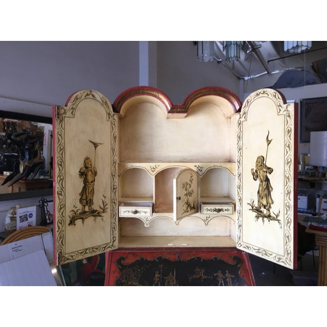 Wood Hollywood Regency Secretary Desk Secretaire Bookcase W/ Chinese Motif For Sale - Image 7 of 11