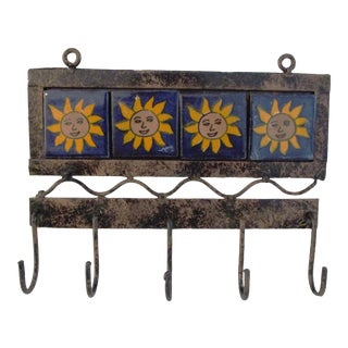 1980s Mexican Sun Tiled Metal Hanging Key Organizer For Sale