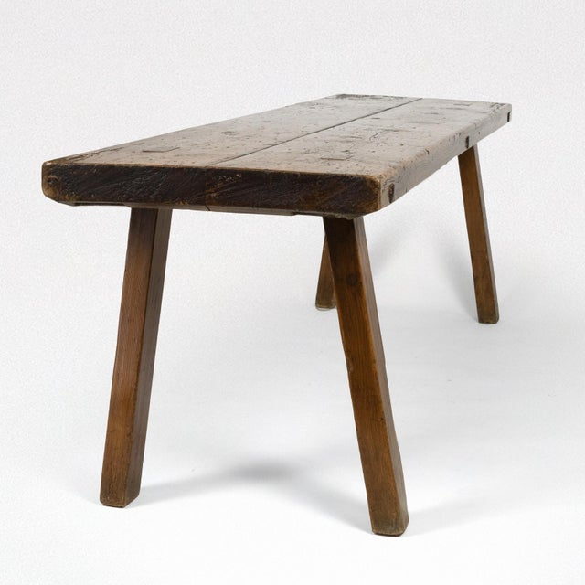 Rustic Elm Work Bench With Square Iron Pegs, English Circa 1880. For Sale - Image 4 of 13