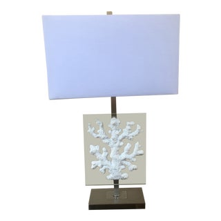 Coastal Chic White Faux Coral & Glass Lamp For Sale