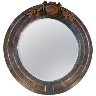 19th Century Italian Green and Gold Hand- Painted Round Wood Framed Mirror For Sale