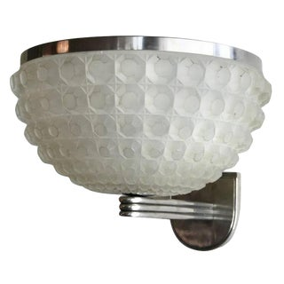 French Art Deco Chrome and Glass Sconce For Sale