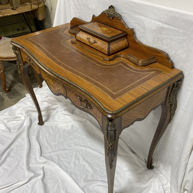 French Ladies Writing Desk Ormalu Marquetry For Sale - Image 3 of 13