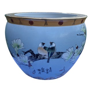 1970s Vintage Chinese Jardiniere With Lovebirds and Koi Fish Motif For Sale
