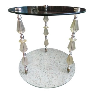1960s Hollywood Regency Lucite Crystal Side Table For Sale