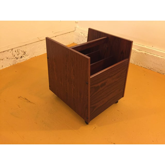 Wood Rosewood Single Rolling MCM Record Album Holder by Rolf Hesland for Bruksbo, Norway For Sale - Image 7 of 13