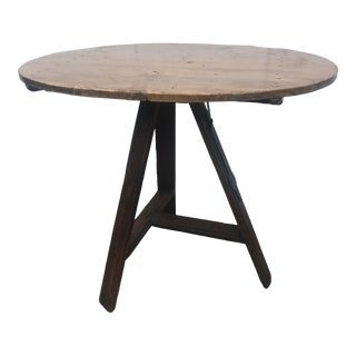 Vintage French Country Wine Tasting Tilt Top Table For Sale